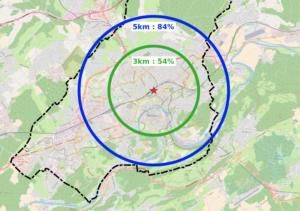 84 % de la population de la commune réside à moins de 5 km de la gare Viotte, soit 20 minutes à vélo