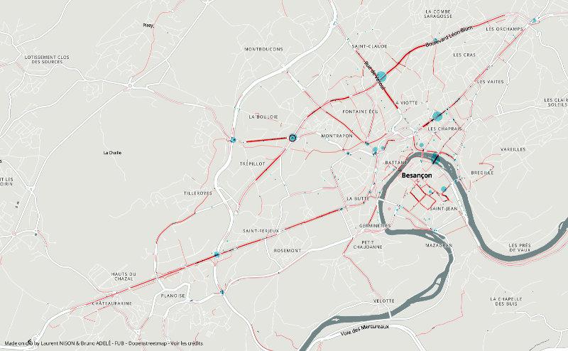 Carte des points noirs de Besançon selon l'enquête 2019 ParlonsVélo